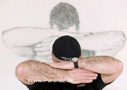 www.parsnaz.ir - نقاشی های زیبای این هنرمند با میخ و چکش + عکس