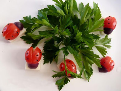 تزیین گوجه , گوجه به شکل کفشدوزک-www.jazzaab.ir