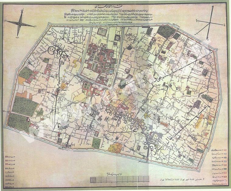 اولین نقشه شهر تهران
