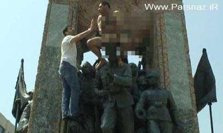 www.parsnaz.ir - برهنه شدن یک ایرانی کنار مجسمه آتاتورک در ترکیه + عکس