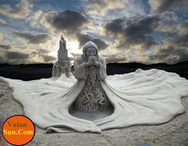 زیباترین مجسمه های شنی ساخته شده کنار ساحل