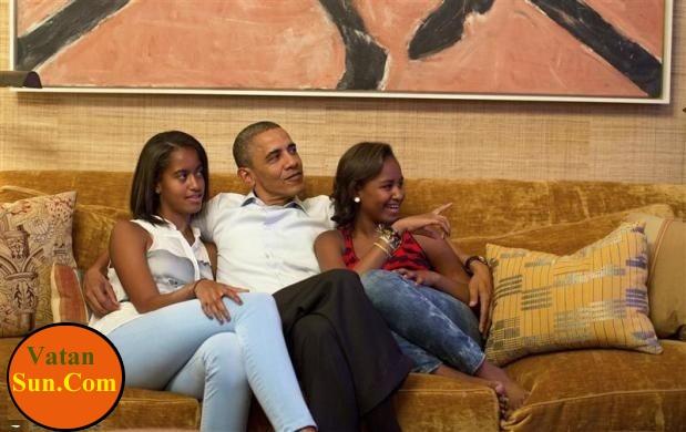 عکس جدید از اوباما و دو دخترش