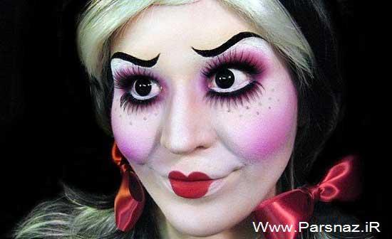 هنرنمایی و خلق چهره های ترسناک توسط خانم آرایشگر