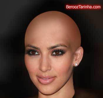 kim kardashian ShavedHead سوپر استار های معروف را کچل ببینید (عکسهای جالب)
