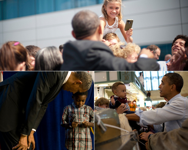 عکس هایی از شگردهای انتخاباتی ; از پیتزا بردن اوباما تا بچه داری رامنی
