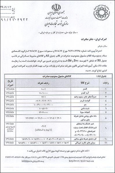 فهرست تازه ممنوعیت صادراتی +جدول