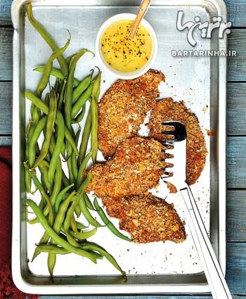مرغ کریپسى با سس عسل و خردل