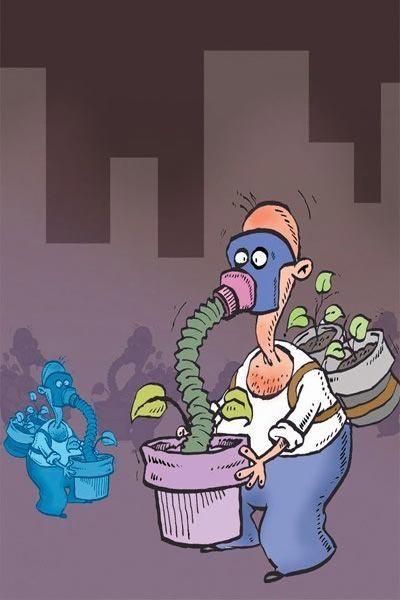 کاریکاتور با موضوع آلودگی هوا