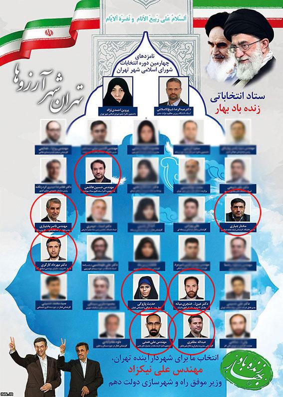 اعلام برائت ۸ کاندیدا از لیست انتخاباتی مشایی
