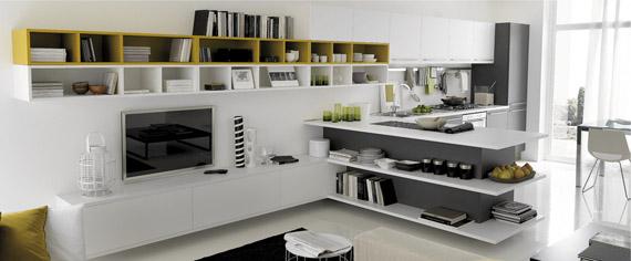 آشپزخانه ای مدرن با استفاده از رنگها