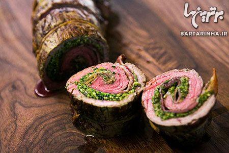 طرز تهیه رولت گوشت لذیذ با گردو و جعفری