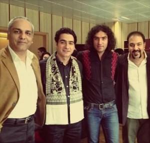 از راست: علی اوجی، رضا یزدانی، همایون شجریان و مهران مدیری