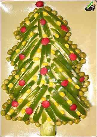 تزئین سالاد الویه به شکل درخت کریسمس - طرز تهیه,سفره ارایی, تزئین سالاد الویه