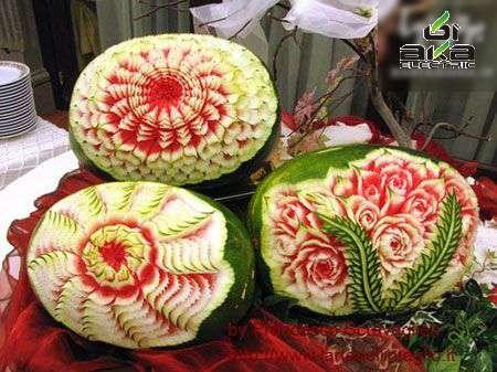 شیرینکاری برای یلدا: کنده کاری هندوانه هندوانه,شب یلدا,کنده کاری