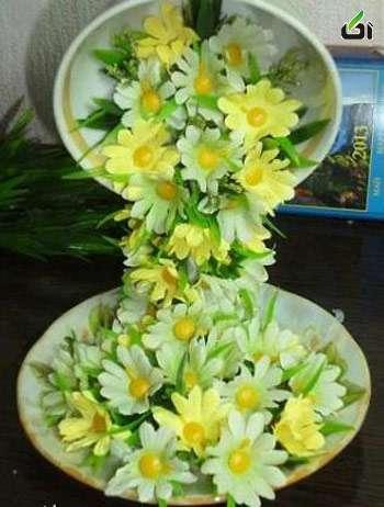 تزیین فنجان و نعلبکی با گل – طرز تهیه