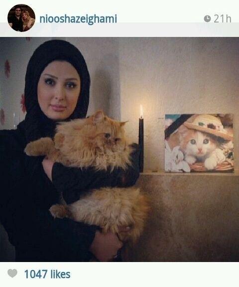 نیوشا ضیغمی در سوگ گربه اش ! + عکس