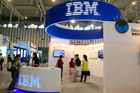 The IBM booth at an IT expo in Nanjing, Jiangsu province. (Photo/CFP)