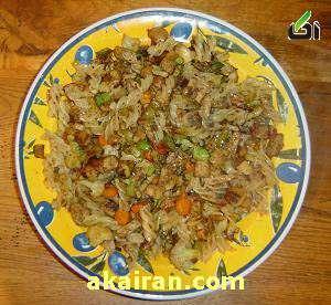 ماکارونی سبز با گوشت – طرز تهیه