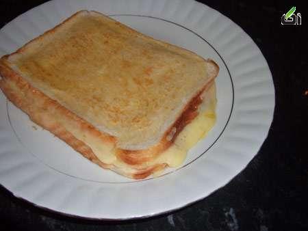 نان تست پنیری, پخت نان تست پنیری, نحوه درست کردن نان تست پنیری