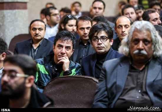 فرزاد حسنی و آزاده نامداری در مراسم ختم مرتضی پاشایی + تصاویر