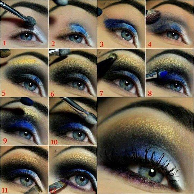 آموزش تصویری آرایش چشم Night Blue