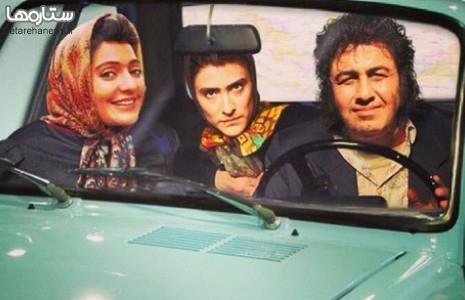 ماشین سواری رضا عطاران و مهناز افشار با یک رنو ۵