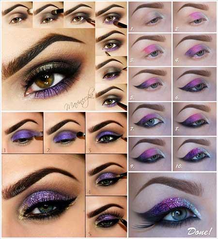 آموزش آرایش چشم با تم بنفش