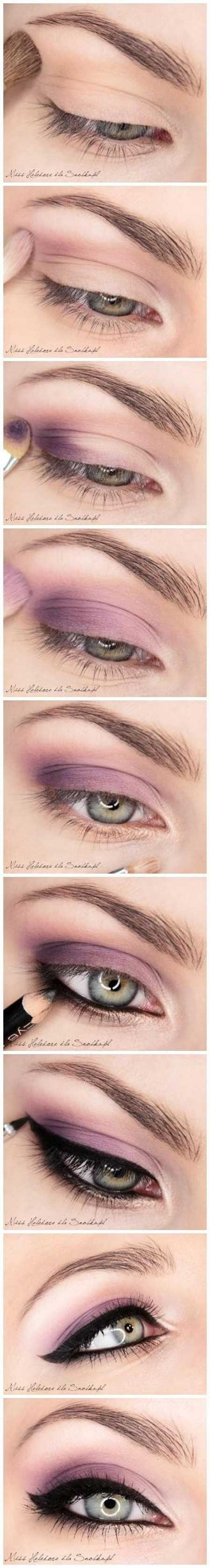 مدل آرایش چشم رنگ سال تم بنفش,آرایش بنفش 2014,زیبا ترین آرایش بنفش چشم