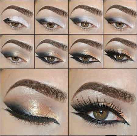 آرایش چشم سایه مشکی طلایی (تصویری)