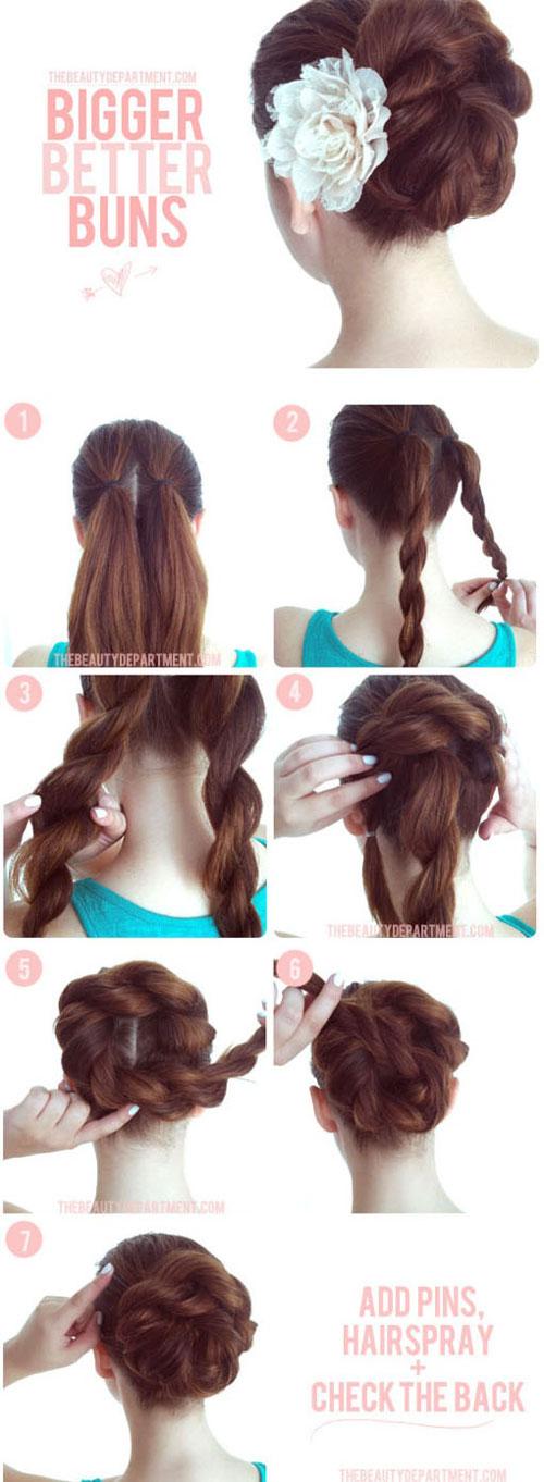 آموزش شینیون موی بلند در منزل