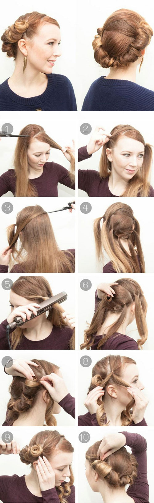 آموزش تصویری شینیون موی ساده - آموزش بستن مو