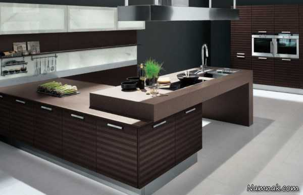دکوراسیون و کابینت آشپزخانه ، انواع کابینت آشپزخانه براق ، کابینت آشپزخانه کوچک عکس