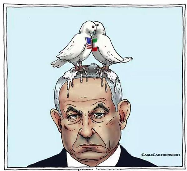 سفیر سوئیس در ایران با کاریکاتوری نتانیاهو را به تمسخر گرفت + تصویر