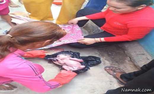 نوزاد زنده ، نوزاد ، جنین داخل زباله