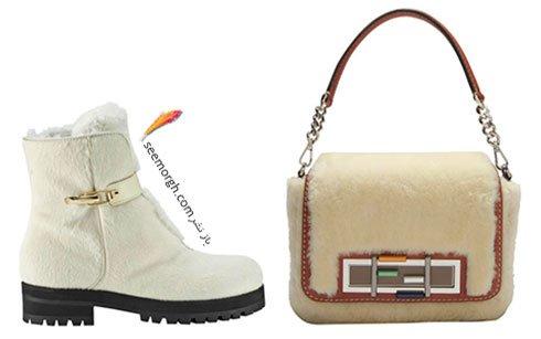 ست کیف و کفش پاییزی خزدار سفید به پیشنهاد مجله ال Elle