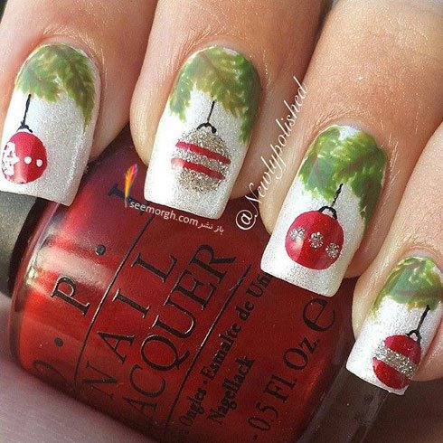 طراحی ناخن برای کریسمس به شکل تزیینات درخت کریسمس