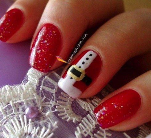 طراحی ناخن برای کریسمس به شکل لباس بابانوئل کریسمس