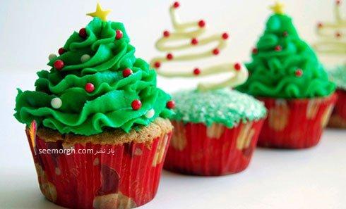تزیین کاپ کیک برای کریسمس به شکل درخت کریسمسر
