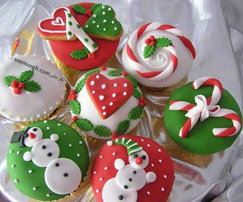 تزیین کاپ کیک برای کریسمس به شکل شکلات های کریسمس