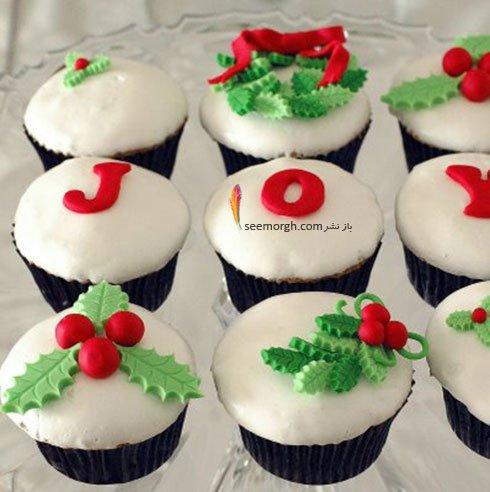 تزیین کاپ کیک برای کریسمس