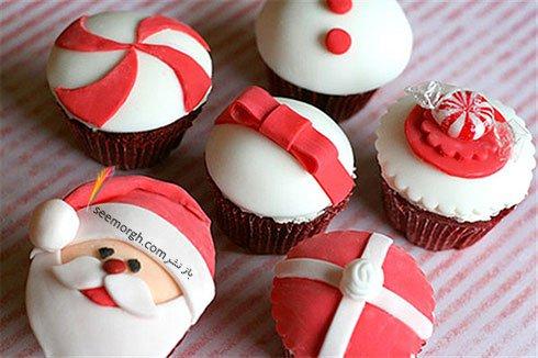 تزیین کاپ کیک به شکل بابانوئل برای کریسمس