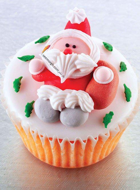 تزیین کاپ کیک کریسمس به شکل آدم برفی