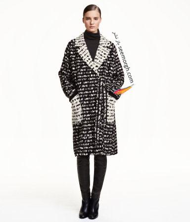 پالتو بلند زنانه سفید و مشکی اچ اند ام H&M برای زمستان 2016