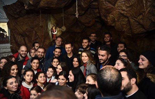 بشار اسد و همسرش در کلیسای حضرت مریم /تصاویر