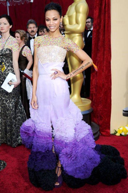 مدل لباس ZOE SALDANA زویی سالدانا روی فرش قرمز 2010