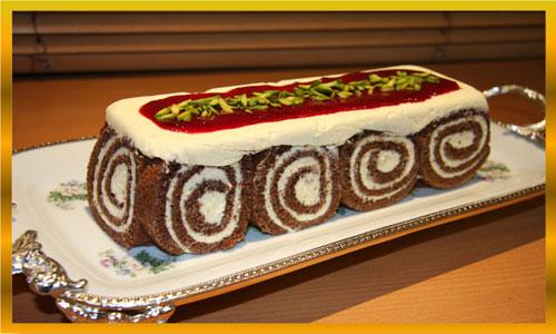طرز تهیه شیرینی یا کیک رولت کاکائویی با دسر کره ای