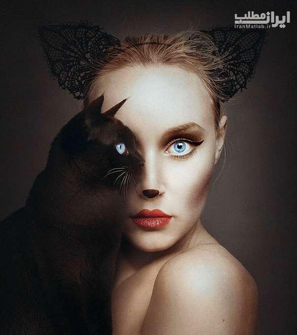 ترکیب جالب چشم حیوانات با صورت انسان