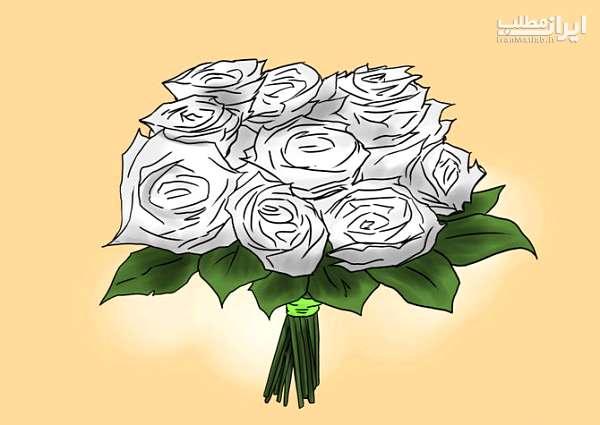 آموزش آبی رنگ کردن گل رز سفید و معمولی + عکس