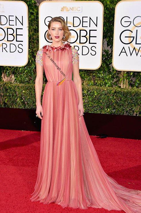 مدل لباس آمبر هرد Amber Heard در گلدن گلوب Golden Globes 2016 از برند Gucci