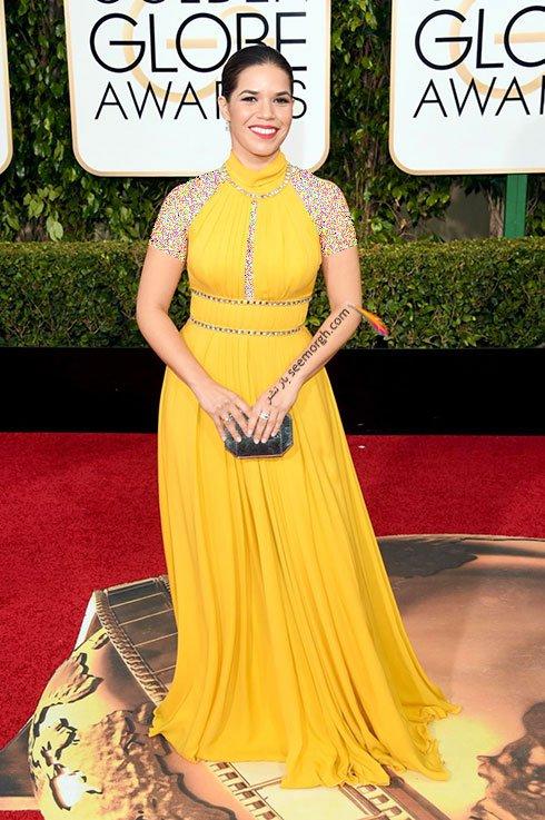 مدل لباس امریکا فررا America Ferrera در گلدن گلوب Golden Globes 2016